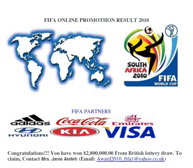 the scammers now making use of the hype surrounding the 2010 world cup